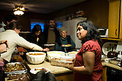 March 25, 2009. Carrboro, NC.. On a nearly weekly basis, Vimala Rajendran, and volunteers, make a community dinner at her house that is open to all comers. A donation is asked for, but all are welcome to eat.. Vimala is in charge of the preparations, but a recurring set of volunteers come every week to help.
