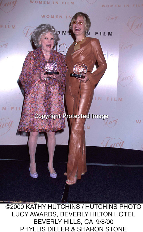 ©2000 KATHY HUTCHINS / HUTCHINS PHOTO.LUCY AWARDS, BEVERLY HILTON HOTEL.BEVERLY HILLS, CA  9/8/00.PHYLLIS DILLER & SHARON STONE