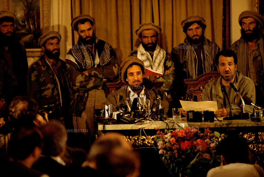 Afghanistan. Kabul. 1992.   Commander Massoud (1953-2001) during the first Press conference after the taking of Kabul by the Mujahideen on April 1992.