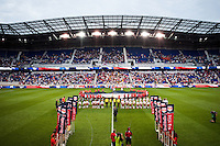 The Portland Timbers and the New York Red Bulls during pre-game introductions. The New York Red Bulls  defeated the Portland Timbers 3-2 during a Major League Soccer (MLS) match at Red Bull Arena in Harrison, NJ, on August 19, 2012.
