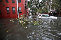 FILE A car rest on a flooded street it Hoboken while Hurricane Sandy affect New York area , United States. 30/10/2012. Photo by Kena Betancur/VIEWpress.