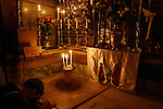 Israel, Jerusalem, the interior of the Edicule at the Church of the Holy Sepulchre, the Chamber of the Holy Sepulchre
