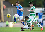 St Johnstone v Celtic&hellip;.McDiarmid Park, Perth.. 11.05.16<br />Danny Swanson is tackled by Emilio Izaguirre and Ryan Christie<br />Picture by Graeme Hart.<br />Copyright Perthshire Picture Agency<br />Tel: 01738 623350  Mobile: 07990 594431