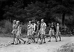 East McKeesport PA:  Girl Scouts walking a nature trail at Camp Youghahela - 1925