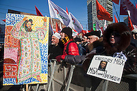 Moscow, Russia, 10/03/2012..Demonstrators hold a poster with the words Freedom for Khodorkovsky and Khodorkovsky is my president and an oil painting of Ivan the Terrible as up to 20,000 people protest in central Moscow against Vladimir Putin's victory in the Russian presidential election.