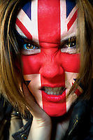 Attractive angry British girl, conceptual.