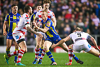 Picture by Alex Whitehead/SWpix.com - 16/03/2017 - Rugby League - Betfred Super League - Leigh Centurions v Warrington Wolves - Leigh Sports Village, Leigh, England - Warrington's Kevin Brown is tackled by Leigh's Gareth Hock and Micky Higham.