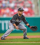 22 September 2013: Miami Marlins third baseman Placido Polanco in action against the Washington Nationals at Nationals Park in Washington, DC. The Marlins defeated the Nationals 4-2 in the first game of their day/night double-header. Mandatory Credit: Ed Wolfstein Photo *** RAW (NEF) Image File Available ***