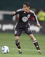 Andy Najar #14 of D.C. United pushes the ball forward during an MLS match against the Chicago Fire on April 17 2010, at RFK Stadium in Washington D.C. Fire won 2-0.