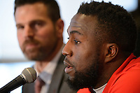 Toronto, ON, Canada - Thursday Dec. 08, 2016: Greg Vanney, Jozy Altidore during a press conference prior to MLS Cup at the Kia Training Grounds.