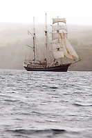 Isle of Skye, Hebrides, Scotland, May 2010. The Tallship sails away from the Ilse of Skye.  Dutch Tallship Thalassa sails between the islands along the Scotish west coast in search of the quality single malt whisky that is produced by the many distilleries. Photo by Frits Meyst/Adventure4ever.com