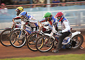 Heat 7 - Hefenbrock (yellow), McGowan (blue), Kasprzak, Bird - Reading Bulldogs vs Lakeside Hammers - Elite League Speedway at Smallmead, Reading- 23-04-07 - MANDATORY CREDIT: Gavin Ellis/TGSPHOTO - IMAGES USED WILL BE INVOICED AT STANDARD RATES..