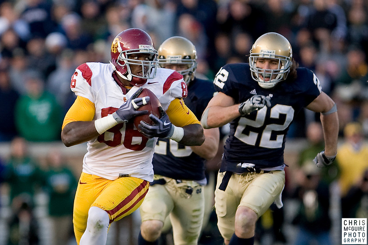 10/17/09 - South Bend, IN:  USC tight end Anthony McCoy gets a big gain at Notre Dame Stadium on Saturday.  USC won the game 34-27 to extend its win streak over Notre Dame to 8 games.  Photo by Christopher McGuire.