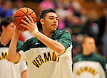 13 February 2011: University of Vermont Catamount guard Josh Elbaum, a Freshman from Wheatley, NY, warms up prior to facing the Binghamton University Bearcats at Patrick Gymnasium in Burlington, Vermont. The Catamounts came from behind to defeat the Bearcats 60-51 in their America East matchup. The Cats took part in the National Pink Zone Breast Cancer Awareness Program by wearing special white jerseys with pink trim. The jerseys were auctioned off following the game with proceeds going to the Vermont Cancer Center. Mandatory Credit: Ed Wolfstein Photo