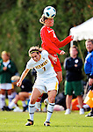 14 October 2010: University of Hartford Hawks defender Nicole Weil, a Junior from Garden Grove, CA, heads the ball away from University of Vermont Catamount forward Jessica Becker, a Senior from Woodbridge, CT, at Centennial Field in Burlington, Vermont. The Hawks defeated the Lady Cats 6-2 in America East play. Mandatory Credit: Ed Wolfstein Photo