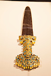 "A gold and turquoise dagger from the ""Terra Cotta Warriors: The Emperor's Painted Army,"" Exhibit directly from Xian in the Shaanxi Province, China debuted in 2014 at the Children's Museum, Indianapolis, Indiana, USA"