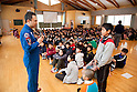 January 27, 2012, Natori, Japan - Japanese astronaut Satoshi Furukawa answers questions from a school child during his visit to an elementary school in Natori City, Miyagi Prefecture, some 293 km northeast of Tokyo, on Friday, January 27, 2012. Furukawa talked about his mission for the 167-day stay at the International Space Station during his visit to the school in the area affected by the Great East Japan Earthquake. (Photo by AFLO) UUK -mis-