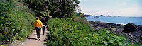 Hikers on Trail along Pacific West Coast of Vancouver Island, near Ucluelet, BC, British Columbia, Canada - Panoramic View