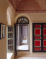 The blood red colour which features in this Moroccan guest house is often associated with good fortune