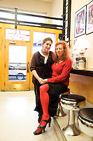 Stu Rasmussen, newly elected Mayor of Silverton Oregon is the first transgenderd mayor in the US, photographed with his partner Victoria Sage at the Silver Creek Coffee Shop , Silverton Orergon