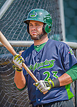 8 July 2015: Vermont Lake Monsters infielder Gabriel Santana awaits his turn in the batting cage prior to a game against the Mahoning Valley Scrappers at Centennial Field in Burlington, Vermont. The Lake Monsters defeated the Scrappers 9-4 to open the home game series of NY Penn League action. Mandatory Credit: Ed Wolfstein Photo *** RAW Image File Available ****