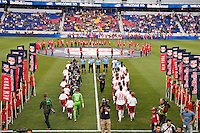 Players enter the field. The New York Red Bulls and the San Jose Earthquakes played to a 2-2 tie during a Major League Soccer (MLS) match at Red Bull Arena in Harrison, NJ, on April 14, 2012.