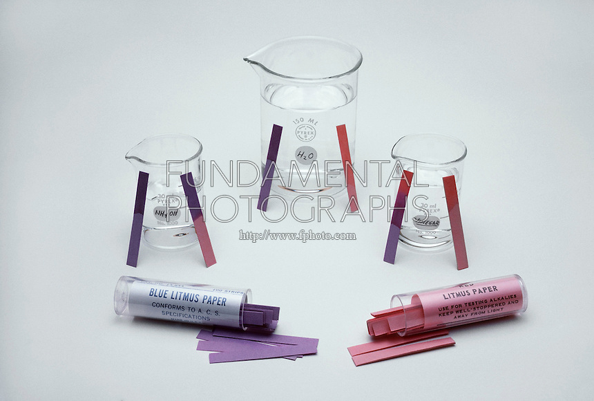 LITMUS PAPER COMPARISON<br /> Litmus Paper With Acid, Base, and Water Solutions<br /> Blue and red litmus paper are compared. Both blue and red litmus papers have the same reading for each solution. When an acid is applied, the papers turn red. When a base is applied, the papers turn blue. In water, litmus papers do not change color.