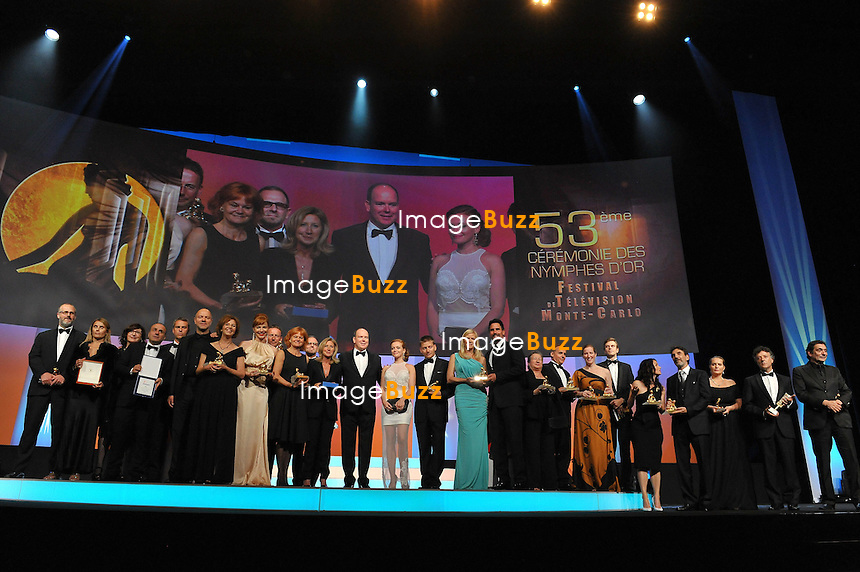 CPE/June 13, 2013-Prince Albert with Nymph Winners during the closing ceremony of 53rd Monte-Carlo TV Festival. Golden Nymph Awards Photocall.