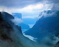 Fiord and Fog at Western Brook Pond, Gros Morne National Park, Newfoundland, Canada