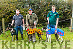 Enjoying the Castleisland Coursing Meeting in Cahill Park, Castleisland on Monday were Micheal McMahon with Ford Field Berry, Charlie Ryall  with Big One, Kieran Houlihan with Shervaltoe