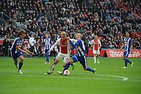 VOETBAL: AMSTERDAM: 16-04-2017, AJAX - SC Heerenveen, uitslag 5 - 1, Kasper Dolberg wordt op de huid gezeten door Morten Thorsby, ©foto Martin de Jong