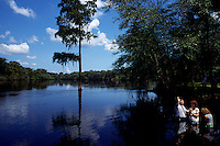 Church members are baptised in the Suwannee River. <br />