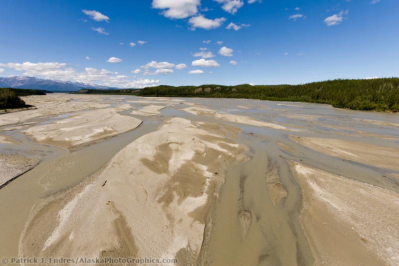 Johnson river, along the Alaska Highway between Delta Junction and Tok Alaska. The glacial fed river flows out of the Alaska Mountain range.