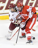 Meagan Mangene (BC - 24), Jenn Wakefield (BU - 9) - The Boston College Eagles defeated the Boston University Terriers 2-1 in the opening round of the Beanpot on Tuesday, February 8, 2011, at Conte Forum in Chestnut Hill, Massachusetts.