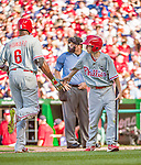 23 May 2015: Philadelphia Phillies guest Bat Boy John Proefrock greets Ryan Howard after his home run during a game against the Washington Nationals at Nationals Park in Washington, DC. The Phillies defeated the Nationals 8-1 in the second game of their 3-game weekend series. Mandatory Credit: Ed Wolfstein Photo *** RAW (NEF) Image File Available ***