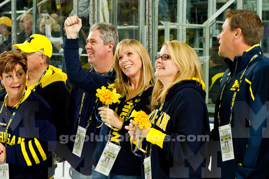 The University of Michigan men's  hockey team,3-2 overtime victory over Michigan Tech at Yost Arena in Ann Arbor, MI. on November1,2013.