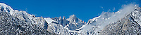 Winter panoramic view of Mount Whitney, Sierra Nevada mountains, California