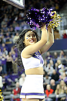 February 12, 2014:   UW Cheer member Dianne Wong entertained fans during the game between Washington's against Stanford.  Washington defeated Stanford 64-60 at Alaska Airlines Arena in Seattle, Washington.