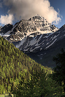 A view around sunset of the beautiful cone-shaped Mont Colmet at the top of Valdigne, a small narrow valley of Valle d'Aosta in the proximity of the Mont Blanc. Stitched from four horizontal frames.