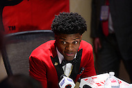 December 10, 2016: Louisville quarterback Lamar Jackson speaks to members of the media during a news conference at the New York Marriott Marquis, December 10, 2016. At the time of the announcement, Jackson amassed 3,390 passing yards,  touchdowns and 1,538 rushing yards. (Photo by Don Baxter/Media Images International)