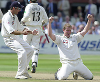 Photo Peter Spurrier.31/08/2002.Cheltenham & Gloucester Trophy Final - Lords.Somerset C.C vs YorkshireC.C..Antony McGarth celebrates the wicket off Jamie Cox