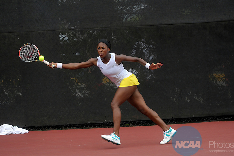 22 MAY 2012:  Skylar Morton of UCLA hits a return against the University of Florida during the Division I Women?s Tennis Championship held at the Dan Magill Tennis Complex on the University of Georgia campus in Athens, GA.  Florida defeated UCLA 4-0 for the national title.  John Amis/NCAA Photos