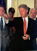 United States President Bill Clinton responds to a reporter's question on the latest Supreme Court decisions after signing the Drug-Free Communities Act of 1997 in Washington, D.C. on June 27, 1997..Credit: Ron Sachs / CNP.
