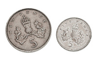 Old and New Five Pence Coins