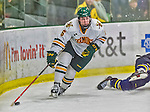 21 February 2015:  University of Vermont Catamount Forward Colin Markison, a Senior from Princeton, NJ, in overtime action against the Merrimack College Warriors at Gutterson Fieldhouse in Burlington, Vermont. The teams played to a scoreless tie as the Cats wrapped up their Hockey East regular home season. Mandatory Credit: Ed Wolfstein Photo *** RAW (NEF) Image File Available ***