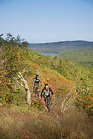 Riding the On the Edge trail while ountain biking in Copper Harbor Michigan Michigan's Upper Peninsula.