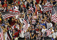 COLUMBUS, OHIO - SEPTEMBER 11, 2012:  Fans of the USA MNT against Jamaica during a CONCACAF 2014 World Cup qualifying  match at Crew Stadium, in Columbus, Ohio on September 11. USA won 1-0.