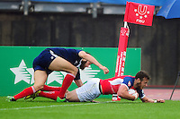 Charles Kingham of Great Britain scores the first try of the match. FISU World University Championship Rugby Sevens Men's Semi Final between Great Britain and France on July 9, 2016 at the Swansea University International Sports Village in Swansea, Wales. Photo by: Patrick Khachfe / Onside Images