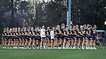 23 February 2017: Notre Dame players during the playing of the national anthem. The Elon University Phoenix hosted the University of Notre Dame Fighting Irish at Rudd Field in Elon, North Carolina in a 2017 Division I College Women's Lacrosse match. Notre Dame won the game 16-7.