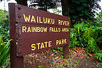 Rainbow Falls sign, Wailuku River State Park, Hilo, The Big Island, Hawaii USA